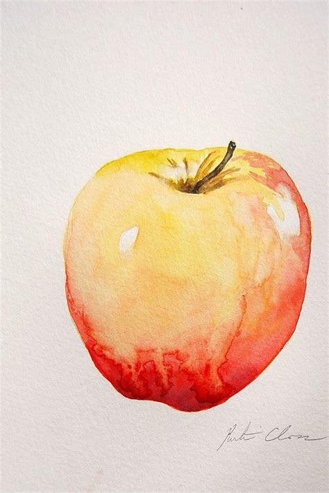 watercolor painting apple  life original small