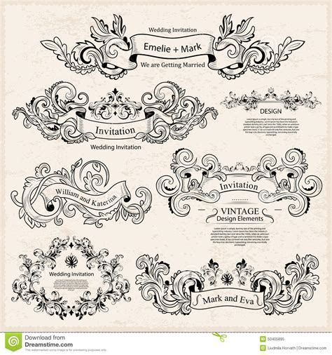 Set Of Vintage Victorian Ornaments. Wedding Design Stock