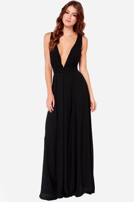 long beautiful black maxi dresses  godfather style