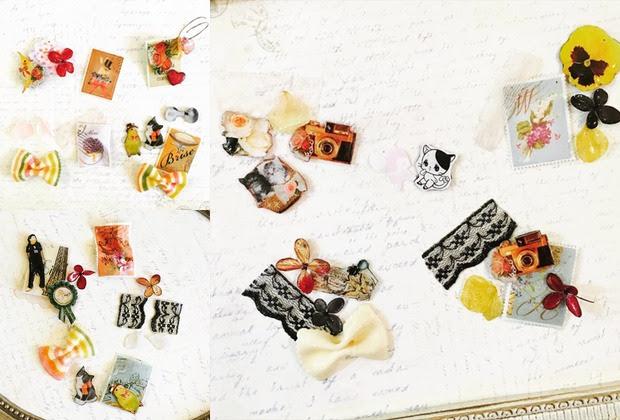 レポート写真やイラストお花レースいろんな素材をレジン加工し