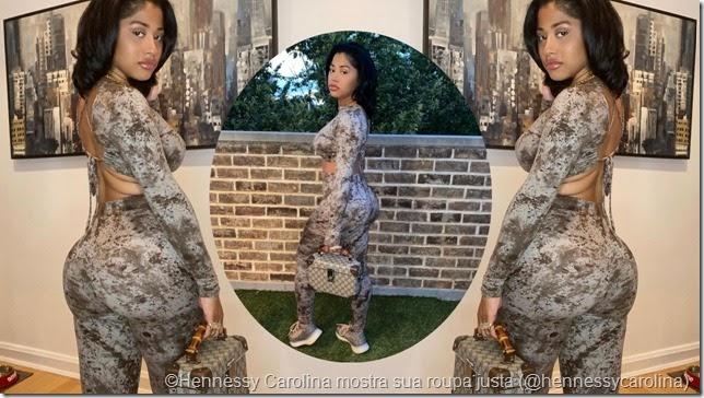 Hennessy Carolina mostra sua roupa justa da marca Fashion Nova
