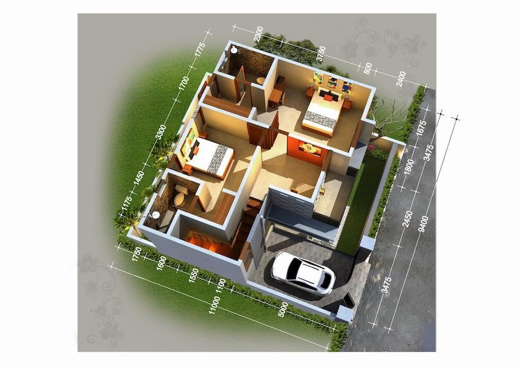 13 Denah 3D Apartemen Minimalis 2 Lantai 3 Kamar   RUMAH ...
