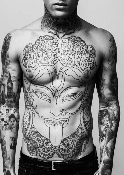 Crow And Skull Black And White Tattoo On Back Body