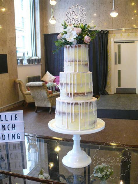 Semi Naked Drip Wedding Cake   Pink Cocoa
