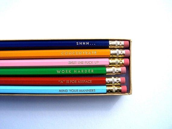 PENCILS (6) - back to school pack - GRAPHITE hex pencils