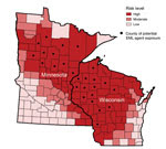 Thumbnail of Geographic distribution of the likely county in Minnesota or Wisconsin in which exposure to the Ehrlichia muris–like (EML) pathogen occurred in relation to the risk for Lyme disease, babesiosis, and anaplasmosis. The risk of tickborne disease is based on county-specific mean annual reported incidence of confirmed Lyme disease and confirmed and probable human anaplasmosis and babesiosis cases in Minnesota and Wisconsin during 2007–2013. Counties with ≤10 cases/100,000 population were
