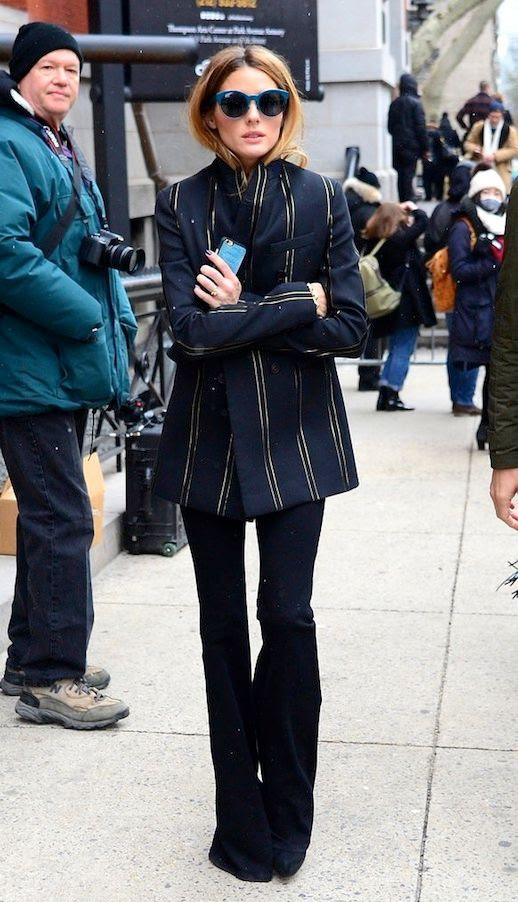 Le Fashion Blog Nyfw Olivia Palermo 70s Style Blue Oversize Sunglasses Striped Blazer Flared Pants Via Popsugar