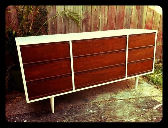 Refinished Mid-Century Retro Dresser