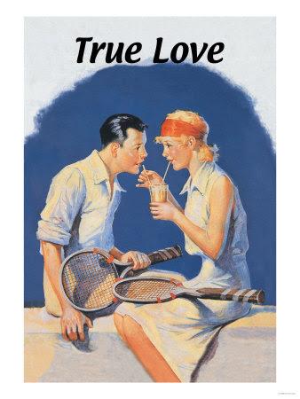 True Love: Sharing a Milkshake After Tennis Giclee Print