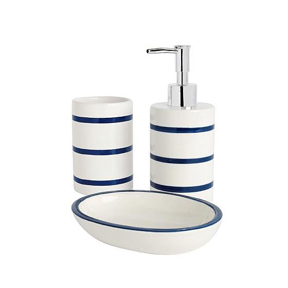 Bathroom Range Navy Stripe Bathroom Accessories ASDA