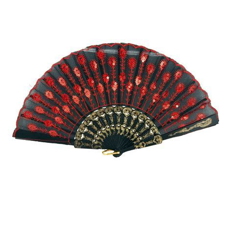 """9"""" Red Chinese Folding Peacock Feather Hand Fan for"""
