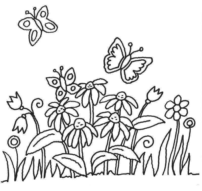 Kostenlose Malvorlage Blumen: Schmetterlinge und Blumen ...