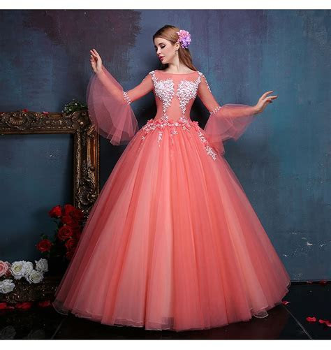 100%real flower embroidery beading flare sleeve ball gown