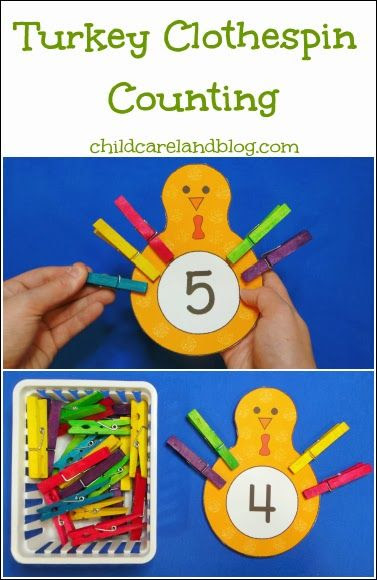 Turkey Clothespin Counting ... great for fine motor development as well as math centers.