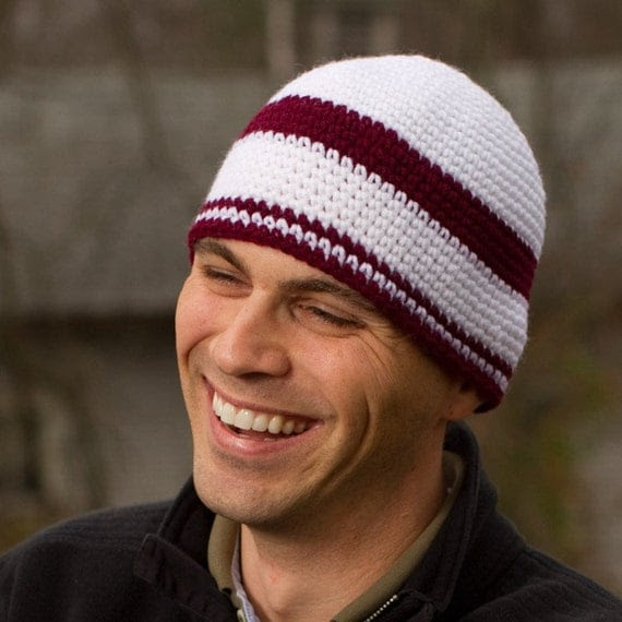 Crochet Hat Mens Hat Unisex Large Red and White Striped Sports Hat - MEN'S BEANIE - Father's Day
