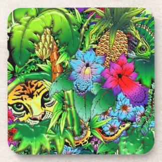 Jungle Wild Animals and Plants Cork Coaster