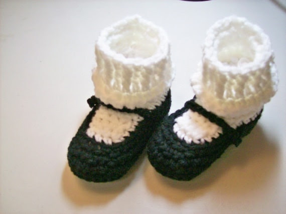 Black MaryJane Baby  Booties - NEWBORN