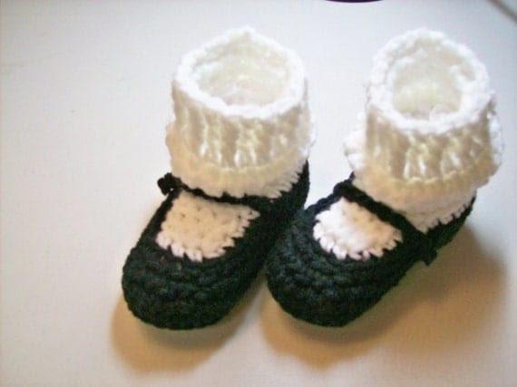 Black MaryJane Baby  Booties - NEWBORN