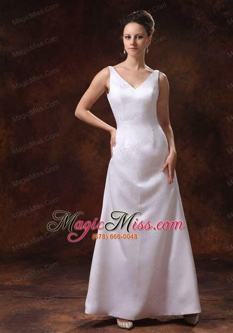 V neck Ankle length Satin Mother Of The Bride Dress For