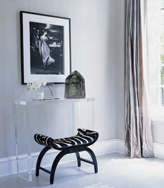 Lucite Table - Transitional - entrance/foyer - Elle Decor