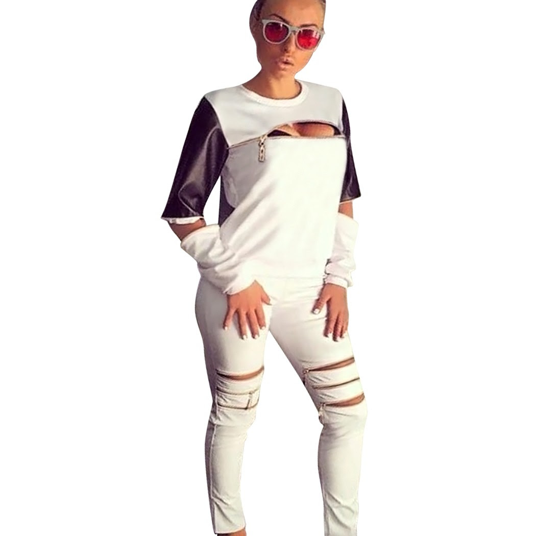 fashion women tracksuit sports zip design sweat suit