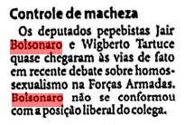 Homofobia pública– ainda não se falava tanto em homofobia em 1997, mas Bolsonaro já brigava por esse discurso.  (Arquivo da FSP 24/05/97)