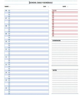 student planner templates   Daily School Schedule Template ...