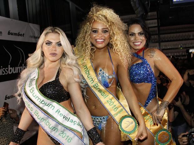 Danny Morais, Erika Canela e MC Sexy no Miss Bumbum em São Paulo (Foto: Celso Tavares/ EGO)