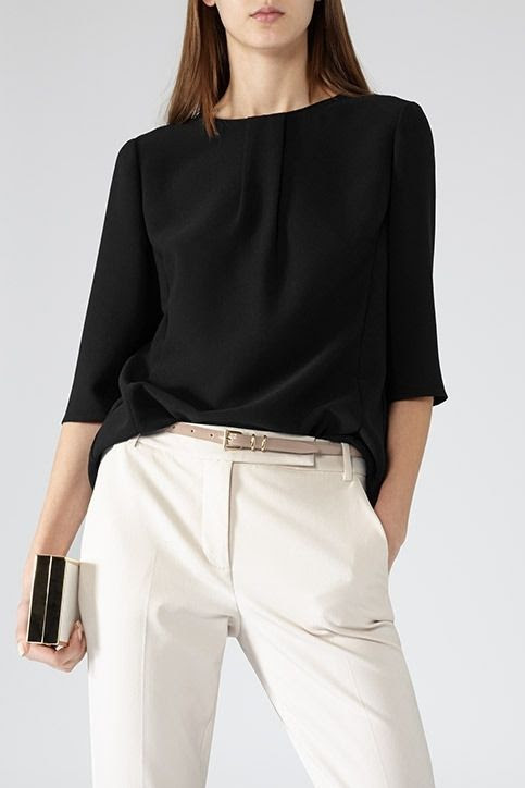 REISS Grace Button Detail Top