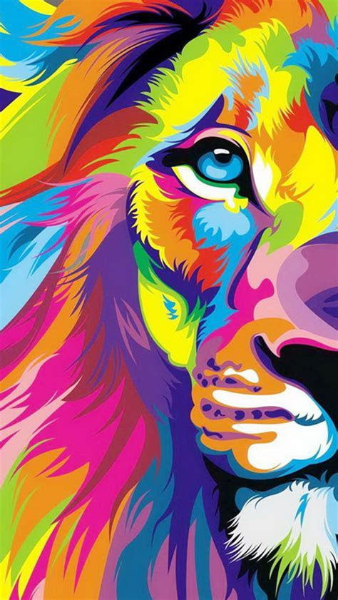 Colorful Lion Head Painting iPhone 6 / 6 Plus and iPhone 5/4 Wallpapers