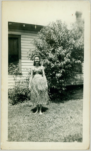 Girl in a grass skirt