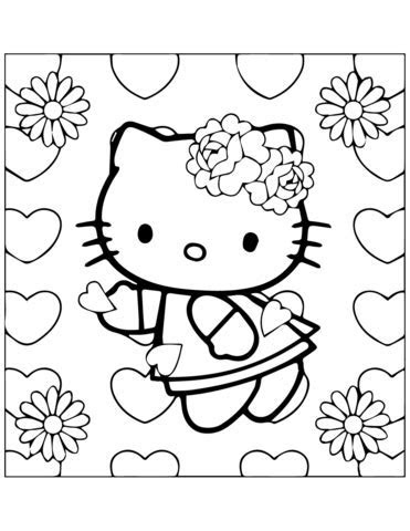 Kitty In Love coloring page   Free Printable Coloring Pages
