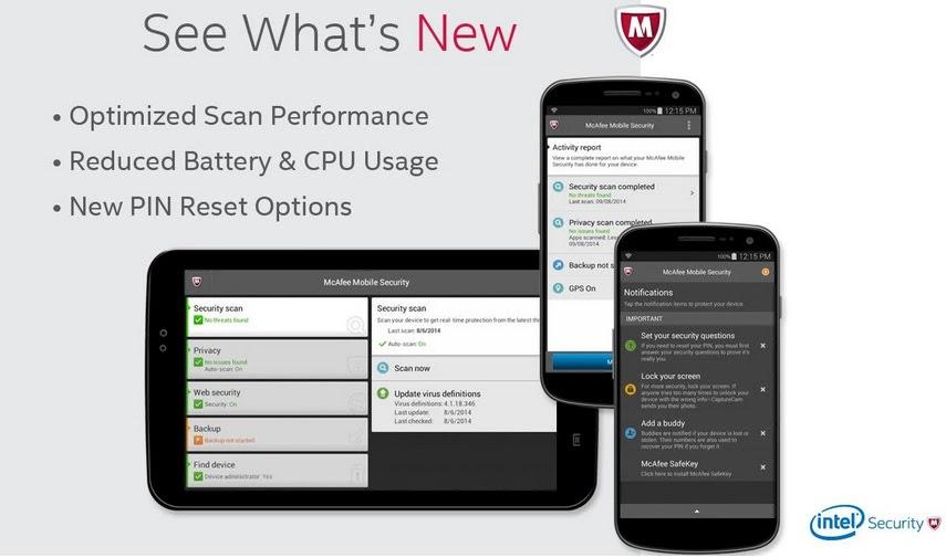 McAfee Mobile Security افضل 5 تطبيقات للحمايه/الاخطار عند ضياع هاتفك او سرقته .