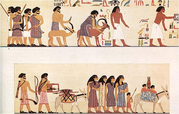 Middle Kingdom artwork showing Hyskos traders bringing trade goods and tribute to the ancient Egyptians.