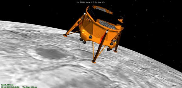 A computer-generated image of SpaceIL's lunar lander approaching the surface of the Moon.
