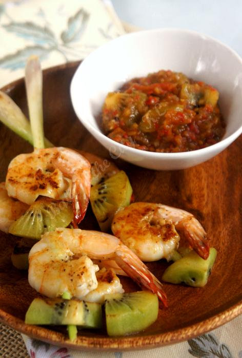 Day 10 Kiwi Sambal with Grilled Prawns