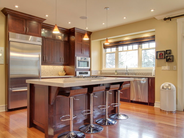 Dark Cherry Color Kitchen Cabinets And Isles | Home Design ...