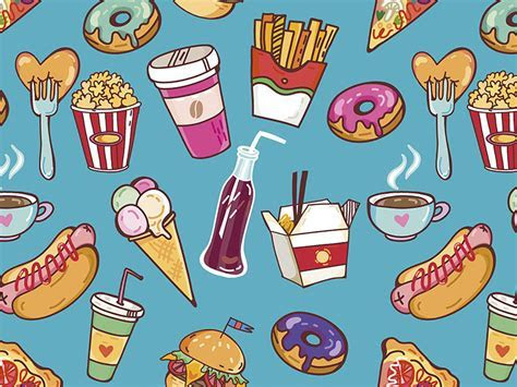 Fast Food pattern by Marusha   Dribbble