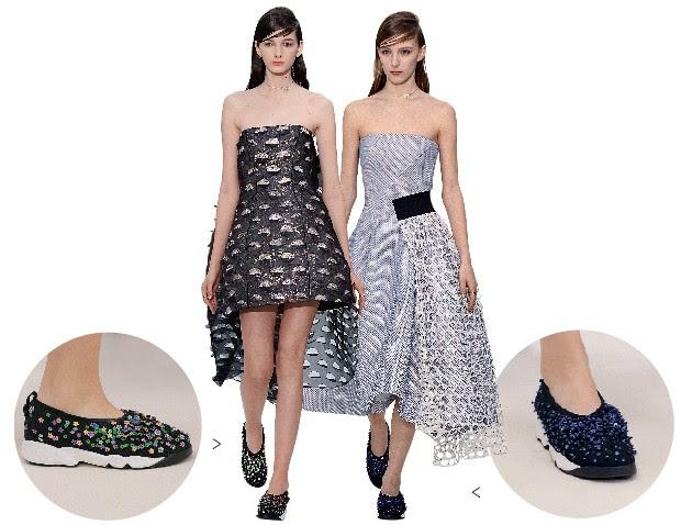 GRIFES COM OS PÉS NO CHÃO No desfile da Christian Dior,  tênis decorados acompanham  vestidos requintados. O intuito da combinação é atrair as jovens ricas para o mundo da alta- costura (Foto: Catwalking/Getty Images)