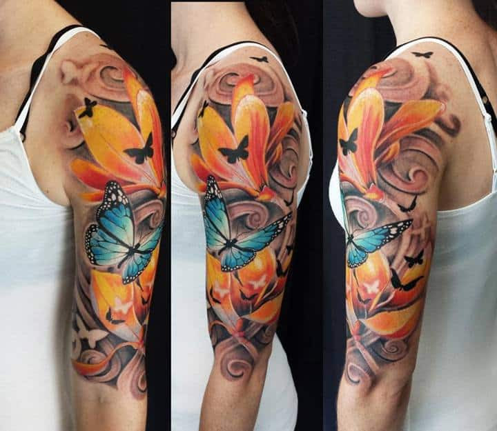 Half Sleeve Colour Butterflies And Lily Flower Tattoo Chronic Ink