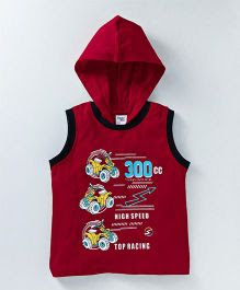 Taeko Sleeveless Hooded T-Shirt Racing Print - Red