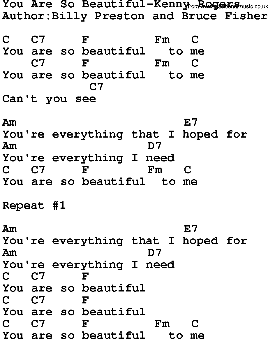 Country Musicyou Are So Beautiful Kenny Rogers Lyrics And Chords