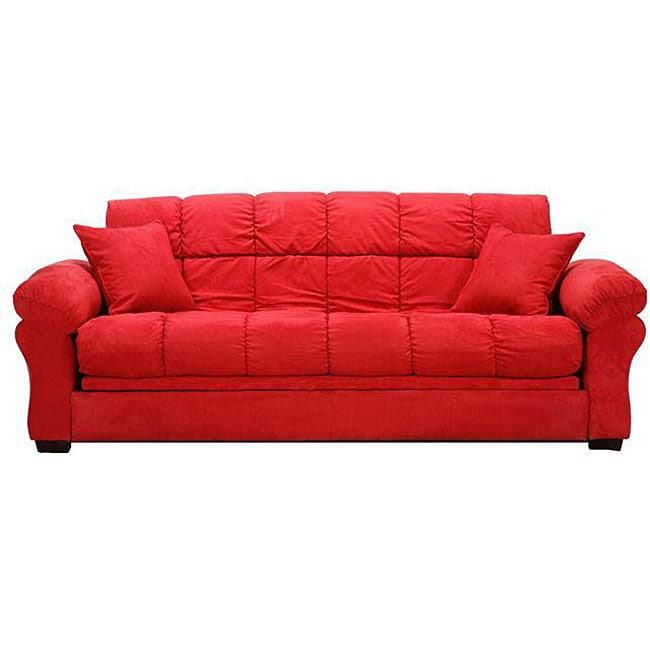 Reid Futon Crimson Red Microfiber Tufted Sofa Bed ...