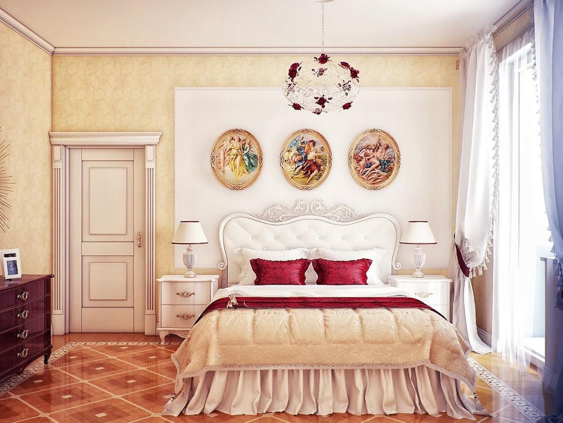 Cream red bedroom schemeInterior Design Ideas.
