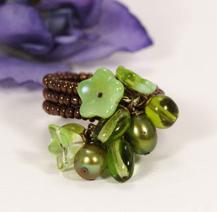 Green With Envy Floral Posy Ring