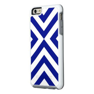 Rugged Geometric Blue and White Chevrons OtterBox iPhone 6/6s Plus Case