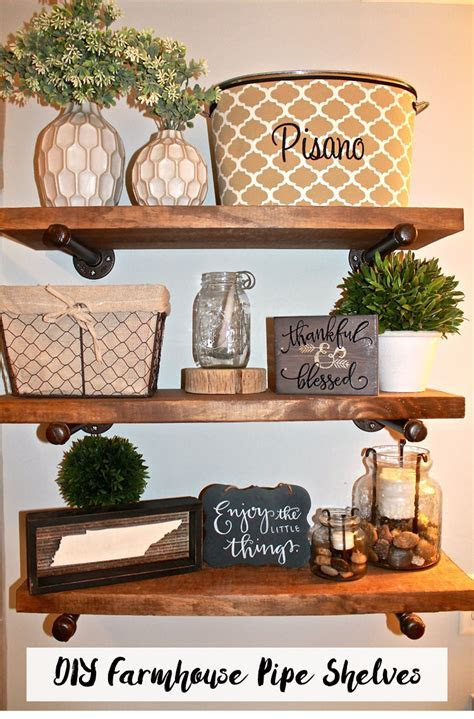 DIY Farmhouse Pipe Shelves