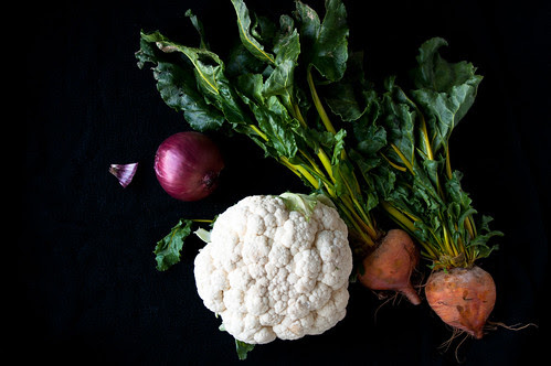 Ingredients for Roasted Caulifower and Golden beets