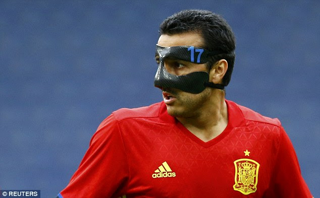 Pedro still sporting his protective mask looks on and would have been disappointed not to score