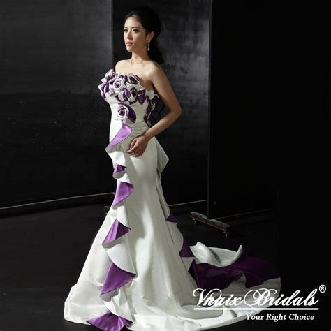 Purple And White Wedding Dresses   Purple And White